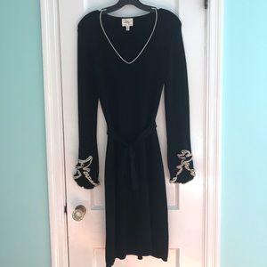 Black Knit Milly Tie-Waist Dress